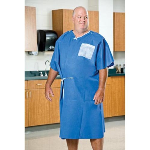 Graham Medical 50756 AmpleWear Nonwoven Gown, 40'' Width, 50'' Length, Blue (Pack of 25)