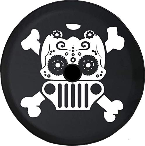 - Pike Outdoors JL Series Spare Tire Cover Backup Camera Hole Sugar Skull Crossbones Jeep Wrangler Grill Black 33 in