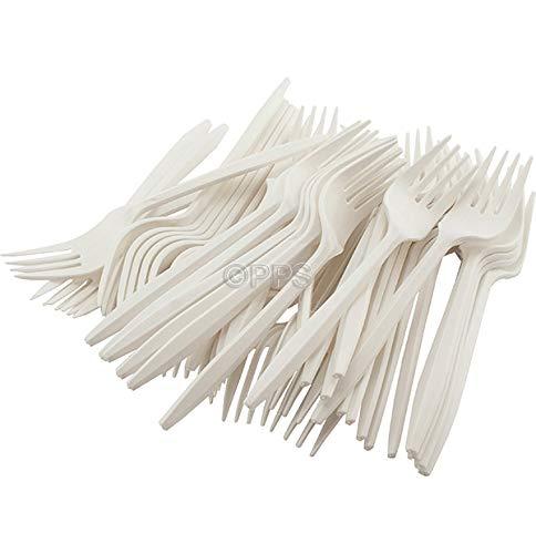 500 x White Plastic Disposable Forks 16cm