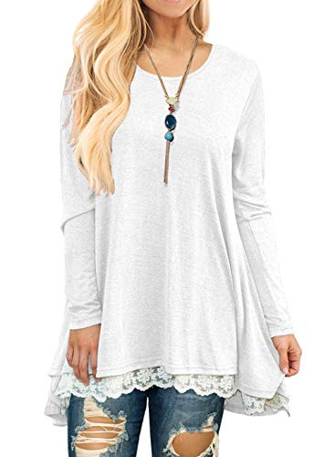 - QIXING Women's Lace Long Sleeve Tunic Top Blouse White-XL