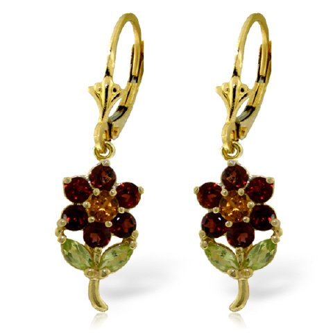 - 14K Yellow Gold Flower Earrings with Garnets, Citrines and Peridots