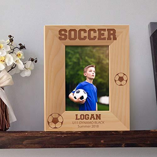 [해외]축구에 의하여 개인화 되는 나무로 되는 액자 3 12 \\ / Soccer Personalized Wooden Picture Frame 3 12 x 5 Brown (Vertical)