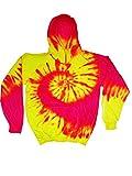 yellow tye dye - Colortone Tie Dye Hoodie LG Flo Swirl