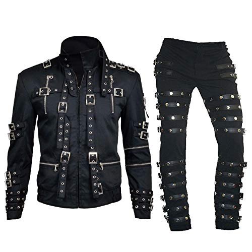 Bad Tour Michael Jackson Concert Metal Rock Costume Black Cotton Pants -