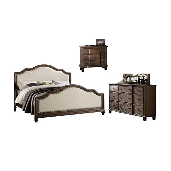 Baudouin 3 Piece Farmhouse King Bed Nightstand Dresser in Oak