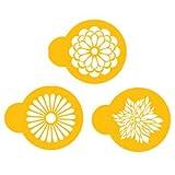 Designer Stencils C559 Modern Flower Cookie Stencil Set, Beige/Semi-Transparent by Designer Stencils