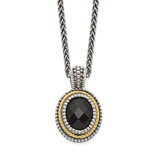 - Mireval Sterling Silver and Two-Tone Rope Rim Black Simulated Onyx Oval Pendant Necklace, 18