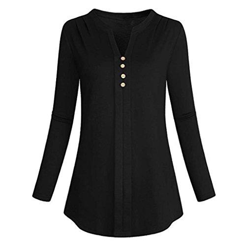 en col Malloom Chemise Laches Longues T Dessus Manches Noir Shirt Femme V xwwACqX