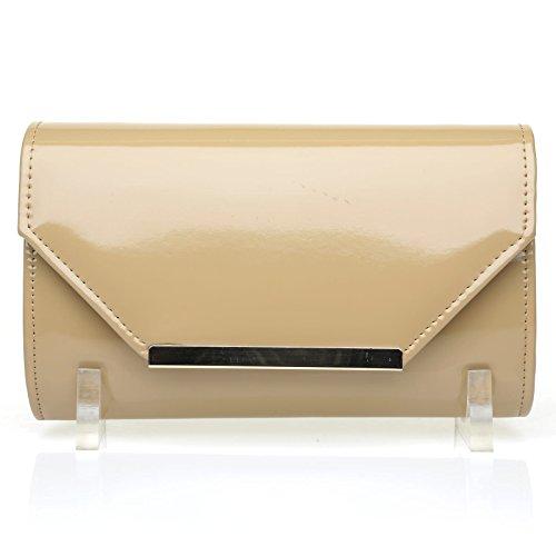 PIXIE Dark Nude Patent PU Leather Medium Size Clutch Bag