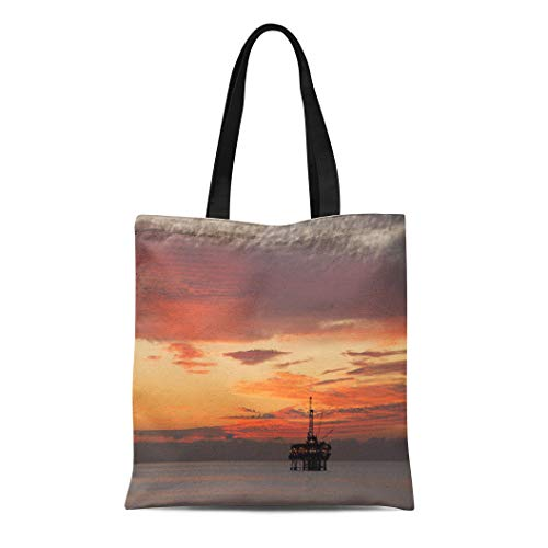 Semtomn Cotton Canvas Tote Bag Orange Rig Off Shore Oil Platform at Sunset Offshore Reusable Shoulder Grocery Shopping Bags Handbag Printed