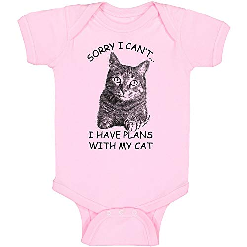 Funny Cat Bodysuit Baby, Sorry .I Have Plans with My Cat, for Baby Boys and Girls (3-6 Months, Pink, My Cat Bodysuit)