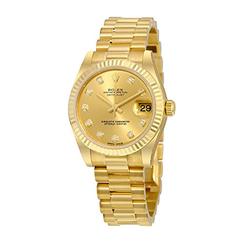 Rolex Lady-Datejust 31 Champagne Dial 18K Yellow Gold President Automatic Ladies Watch 178278CDP (President Champagne Dial Gold)