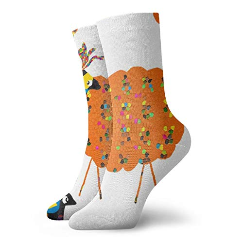 Fun Socks -Sheep In Fancy Dress_623 Painting Art Printed Funny Novelty Animal Casual Cotton Crew Socks 11.8inch
