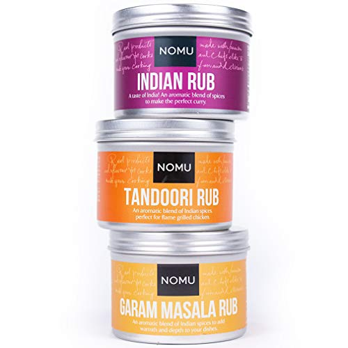 NOMU Rub Curry Trio Set - Indian, Tandoori & Garam Masala Seasonings (3-pack) - Premium Blends of Herbs & Spices - No MSG or -