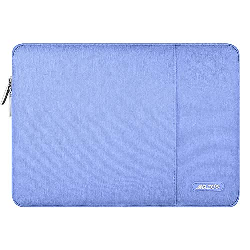 MOSISO Polyester Vertical Style Water Repellent Laptop Sleeve Case Bag Cover with Pocket Compatible 13-13.3 Inch MacBook Pro, MacBook Air, Notebook, Serenity Blue