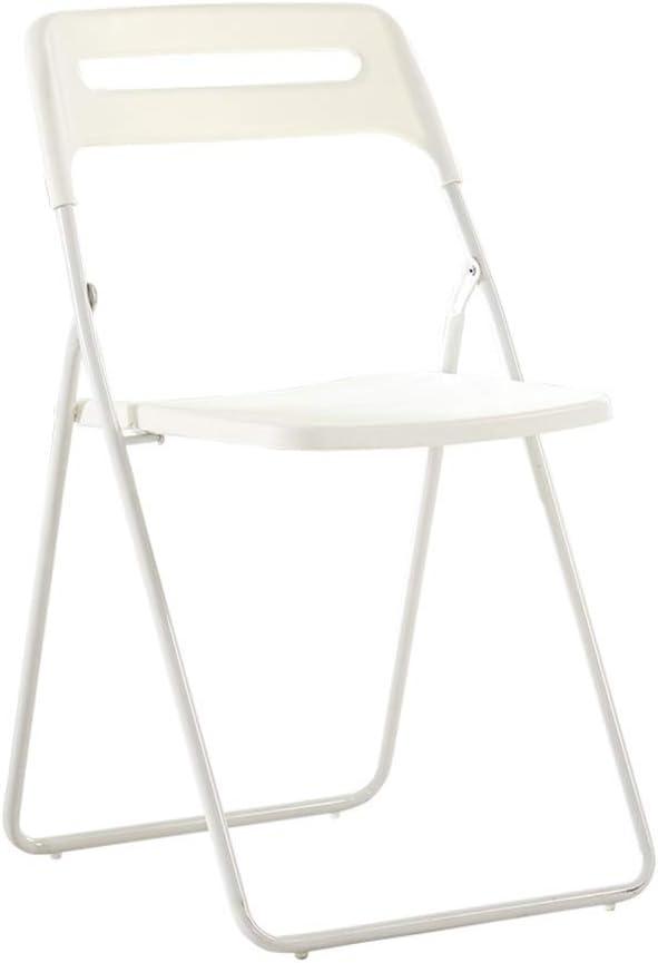 Zadi Silla Plegable Oficina del Asiento Almohadillado Cómodo, Marco Plegable De Metal For Los Visitantes, Visitantes Y Conferencias (Color : White)
