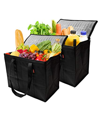Insulated Reusable Grocery Bags, Sturdy Zipper, Foldable, Easy to Clean, Heavy Duty, Stand Upright, Completely…