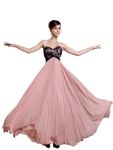 Topwedding Chiffon and Lace Strapless Empire Cut Prom Dress,Picture Color,S4