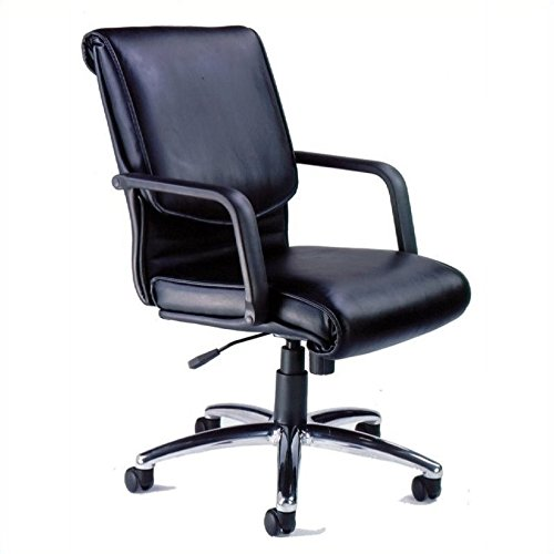 Mayline ALBLK Mercado Leather Series Alliance Chair, Black Leather