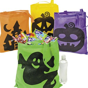 4 Large Neon HALLOWEEN Trick or Treat TOTES/BAGS/PARTY FAVORS/Goodie Bags/POLYESTER/GHOST Pumpkin WITCH/ICONIC/16
