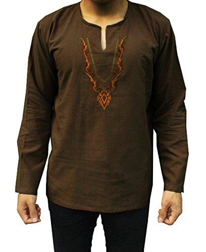 Indian Men's Cotton 100% Fabric Hippie V-Neck Shirt Summer Beach Yoga Top T-Shirt (M, Brown3)
