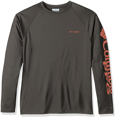 Columbia Men's Terminal Tackle Long Sleeve Shirt, Cypress Bright Peach Logo, X-Large