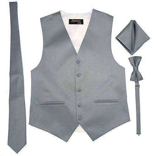 Tuxedo Pocket Squares - Spencer J's Men's Formal Tuxedo Suit Vest Tie Bowtie and Pocket Square 4 Piece Set Variety of Colors (5XL (Coat Size 66-70), Platinum)