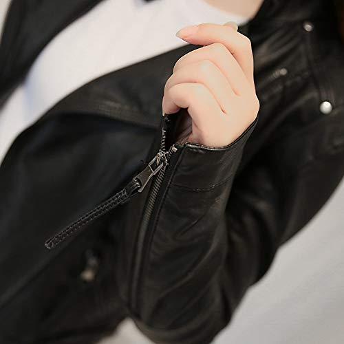 de de de Chaqueta Las SED de la Abrigo Mujeres L Negro Motocicleta de Cuello la la de la otoño Abrigo Ropa Cremallera del de F7FwRz