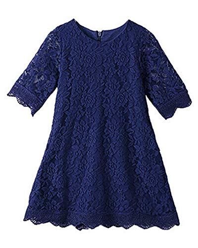 CVERRE Flower Girl Lace Dress Country Dresses Sleeves 1-6 (Navy, 160)