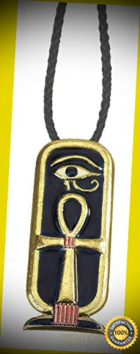 KARPP Egyptian Ankh Cartouche Pendant Medallion Pewter Necklace Accessory Jewelry Perfect Indoor Collectible Figurines (Hat Balinese)