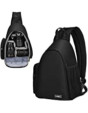 Camera Backpack, Cwatcun Water Repellent Camera Sling Crossbody Backpack Bag, Dual Use Professional SLR DSLR Photo Mirrorless Case Compatible with Cameras Canon Nikon Sony and Lenses Tripod (Black)