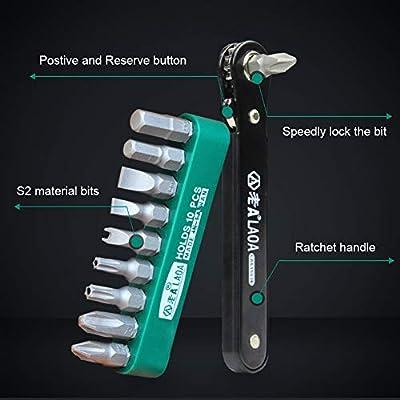 LAOA 10pcs Mini Ratchet Bits Set Tight Space Torque Screwdriver Close Quarters 1/4 Micro EDC Tool Reversible Drive Handle: Home Improvement