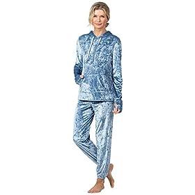 PajamaGram-Pijama-de-terciopelo-suave-para-mujer-color-azul
