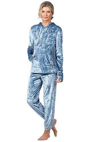 PajamaGram Womans Pajamas Plush Velvet - Soft Pajamas for Women, Blue, XL, 16
