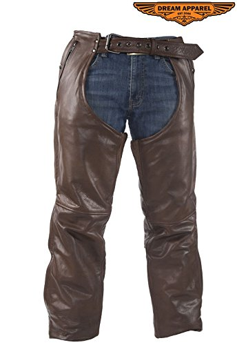 Brown Leather Motorcycle Chaps - 5
