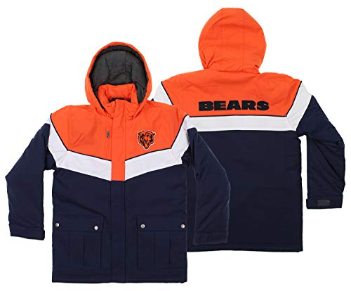 NFL Youth Boys All American Heavy Weight Parka Jacket-Deep Obsidian-S(8), Chicago Bears