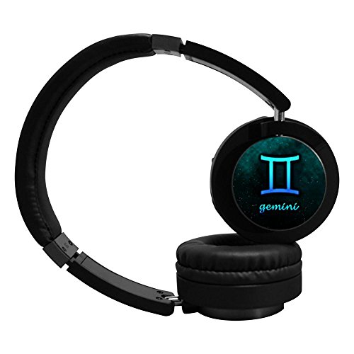 PeKnt Gemini Wireless Bluetooth Headphones Stereo Over Ear Fold Headset Black