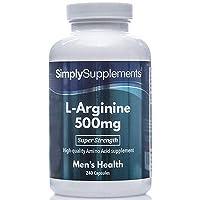 L Arginine Capsules 500mg | Popular for Blood Vessel Dilation & Sexual Health | 240 L-Arginine HCl Capsules | Manufactured in the UK