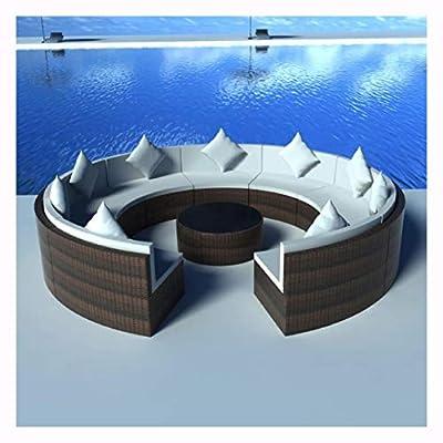 HEATAPPLY Outdoor Furniture Set, 10 Piece Garden Lounge Set with Cushions Poly Rattan Brown