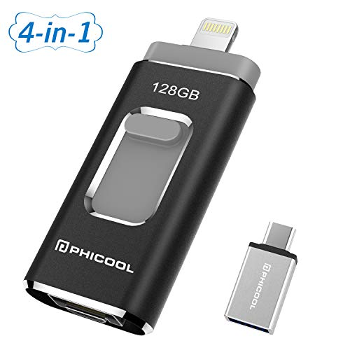 USB Flash Drive Photo Stick for iPhone Memory Stick Backup Drive iOS Flash Drive PHICOOL 128GB Photostick Mobile for External Storage iPad USB 3.0 iPhone OTG Android Type C iPhone Jump Drive (Black)