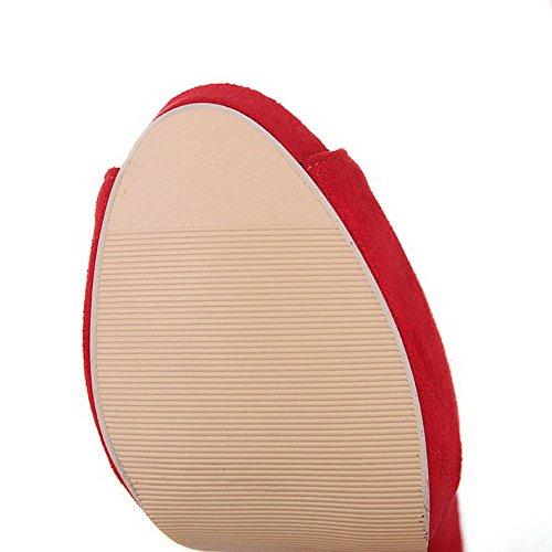AllhqFashion Mujeres Esmerilado Peep Tacón ancho Sin cordones Sólido Sandalia Rojo