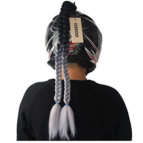 (DOSEEI Helmet Pigtail Helmet Ponytail Helmet Braids Helmet hair Handmade Used for any Helmet (Black-Gray))