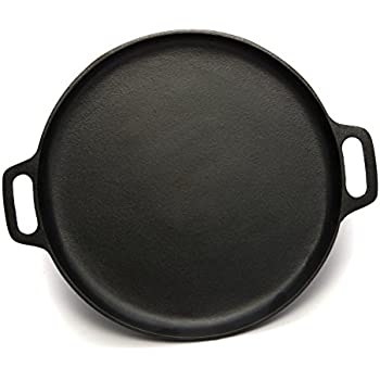 Pre-Seasoned Cast Iron Pizza and Baking Pan (14 Inch) Natural Finish, Enhanced Heat Retention and Dispersion | Stove, Oven, Grill or Campfire