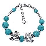 DVANIS Kissing Fish Shape Handmade Pearl Beads Silver Tibetan Bracelet Bangle Adjustable