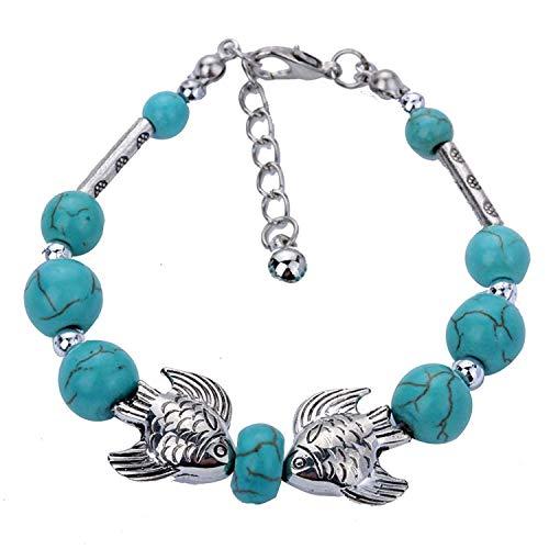 DVANIS Kissing Fish Shape Handmade Pearl Beads Silver Tibetan Bracelet Bangle Adjustable by DVANIS