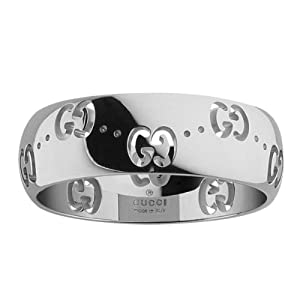 Gucci Icon Bold YBC24647000353 Women's Ring 750/000 White Gold Size 53