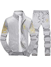 Men s Casual Tracksuit Long Sleeve Full-zip Running Jogging Sports Jacket  And Pants 02690b25b6c