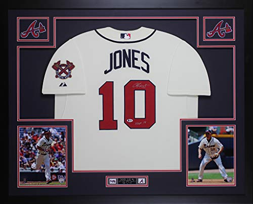 Framed Chipper - Chipper Jones Autographed Cream Braves Jersey - Beautifully Matted and Framed - Hand Signed By Chipper Jones and Certified Authentic by Beckett - Includes Certificate of Authenticity