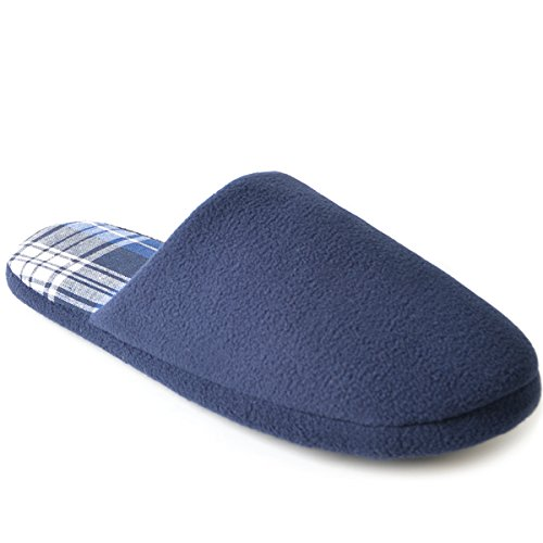 SlumberzzZ Men's Fleece Check Lined Mule Slippers, Navy, Size UK 8/9