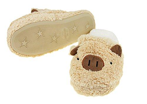 BAO CORE Women's Lovely Cartoon Pig Plush Slipper Soft Warm Winter Slip-On Mules Slippers Ladies, Size UK 3-4 Coffee